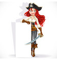 cute pirate girl hold big vertical banner vector image vector image