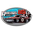 design racing car team badge vector image