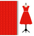 dress fabric with red arabic pattern vector image vector image
