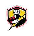 electrician thunderbolt crest mascot vector image vector image