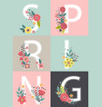 floral poster with lettering spring vector image