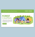 forest camping landing page template tourist vector image