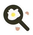 fried egg in a frying pan and egg shell isolated vector image