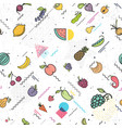 Fruits and vegetables seamless pattern memphis vector image