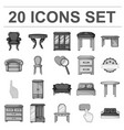 furniture and interior monochrome icons in set vector image vector image