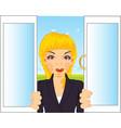 girl in window vector image vector image