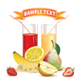 glasses with juice lemon banana pear strawberry vector image vector image
