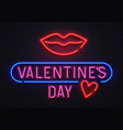glowing neon sign valentines day lettering with vector image