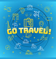 go travel concept different thin line icons vector image