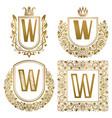 golden vintage monograms set heraldic logos w vector image