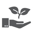 hand with plant glyph icon ecology and energy vector image vector image