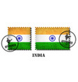 india o indian flag pattern postage stamp with vector image vector image