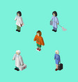 isometric human set of hostess housemaid lady vector image vector image