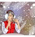 Lady Enjoying a Drink in the Snowy City of Paris vector image vector image