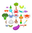 life icons set cartoon style vector image vector image