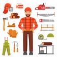Lumberjack Decorative Flat Icons Set vector image vector image