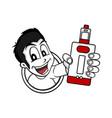 man holding vaporizer mod - electric cigarette vector image