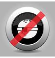 metallic button hamburger with cheese ban icon vector image vector image
