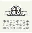 monogram an art nouveau label with two letters vector image