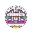 original logo template for classic music festival vector image vector image