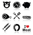 Pig pork meat - ham and bacon icons set vector image vector image