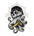 pirate skull with tentacles octopus vector image vector image