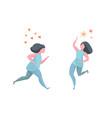 running active happy healthy woman vector image