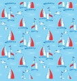 seamless pattern with sail boats and seagulls sea vector image vector image