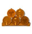 set of wooden barrels of wine in cellar vector image