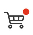 shopping cart icon with counter added online vector image