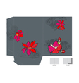 template for folder with flowers vector image vector image