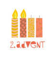 two burning advent candles vector image