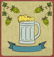 Vintage card with glass mug beer vector image vector image