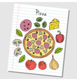 pizza doodles lined paper colored vector image