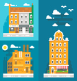 Flat design old european buildings vector image