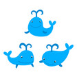 set of cute cartoon whales isolated in white in vector image