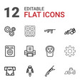 12 machine icons vector image vector image