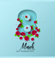 8 march greeting card for womens day vector image vector image