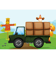 A chicken and the scarecrow vector image