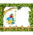 A colorful parrot under a big tree vector image
