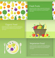 banners with fruits plate and basket in flat vector image vector image