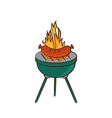 Barbecue with sausage and flame vector image vector image