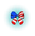 Bow in the USA flag colors icon comics style vector image vector image