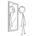 cartoon of sad depressed man looking at himself vector image vector image