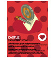 castle color isometric poster vector image vector image