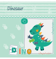 Cute kid background with dinosaur vector image