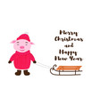 cute pig in winter clothing with sledges vector image
