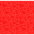 Cute red seamless texture with white hearts vector image
