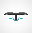 diving whale tail logo sign badge isolated vector image
