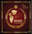 elegant laurel wreath label wine card vector image vector image